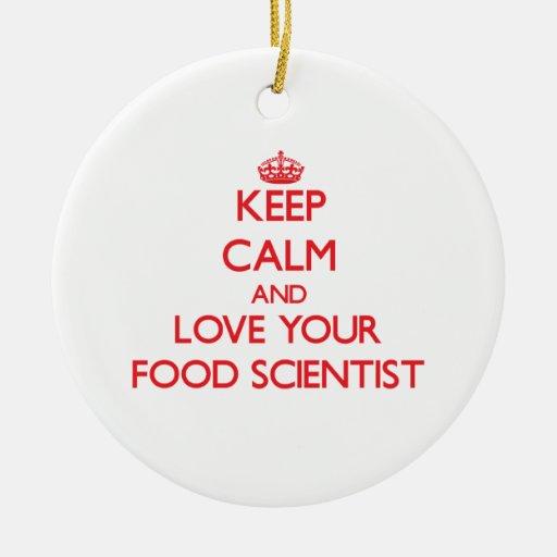 Guarde la calma y ame a su científico de la comida ornamentos de navidad