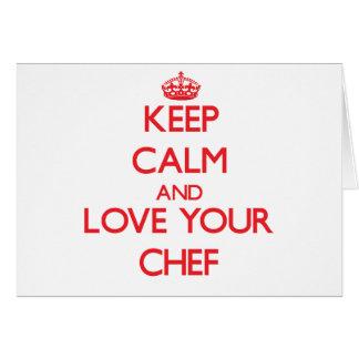 Guarde la calma y ame a su cocinero tarjetas
