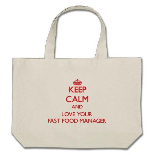 Guarde la calma y ame a su encargado de los alimen bolsa de mano