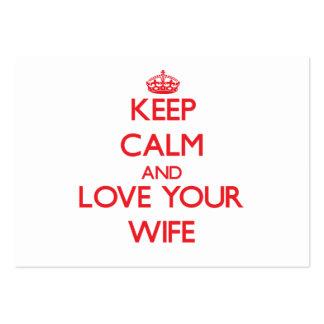Guarde la calma y ame a su esposa plantilla de tarjeta de visita
