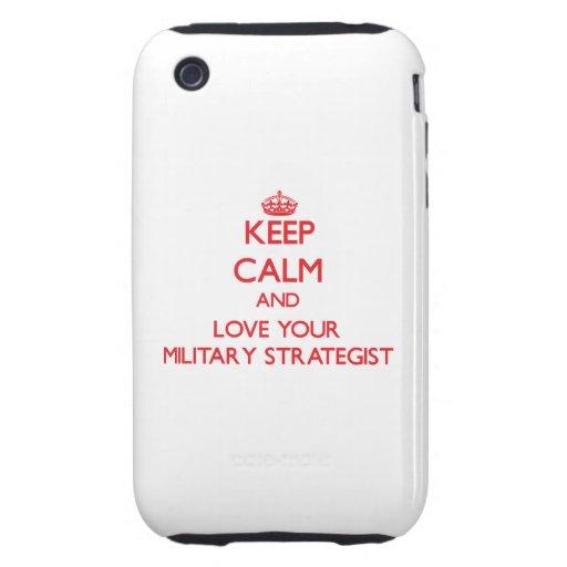Guarde la calma y ame a su estratega militar tough iPhone 3 fundas