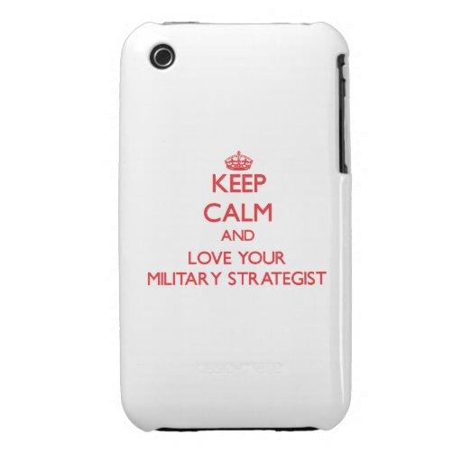 Guarde la calma y ame a su estratega militar iPhone 3 Case-Mate funda