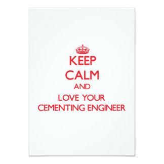 Guarde la calma y ame a su ingeniero de invitación 12,7 x 17,8 cm