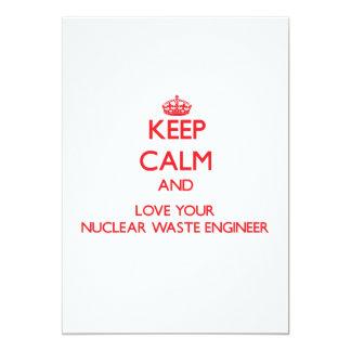 Guarde la calma y ame a su ingeniero de la basura invitación 12,7 x 17,8 cm