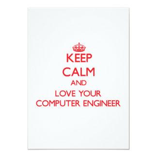 Guarde la calma y ame a su ingeniero informático invitación 12,7 x 17,8 cm