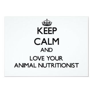 Guarde la calma y ame a su nutricionista animal invitación 12,7 x 17,8 cm