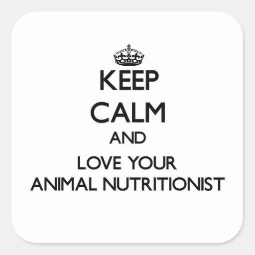Guarde la calma y ame a su nutricionista animal calcomanias cuadradas