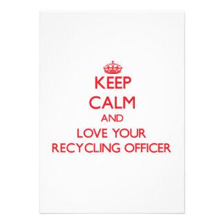 Guarde la calma y ame a su oficial de reciclaje invitaciones personales