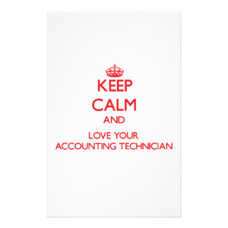 Guarde la calma y ame a su técnico de la contabili papeleria de diseño