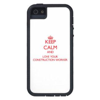 Guarde la calma y ame a su trabajador de construcc iPhone 5 carcasas