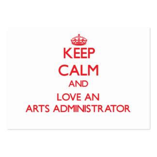 Guarde la calma y ame a un administrador de artes tarjetas de visita grandes