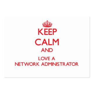 Guarde la calma y ame a un administrador de red plantilla de tarjeta de visita
