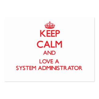 Guarde la calma y ame a un administrador de sistem plantillas de tarjetas de visita