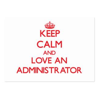 Guarde la calma y ame a un administrador tarjetas de visita