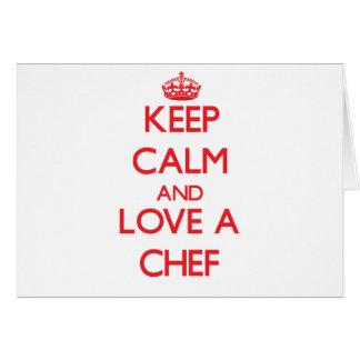 Guarde la calma y ame a un cocinero tarjetón