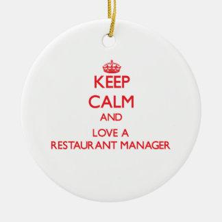 Guarde la calma y ame a un encargado del restauran ornaments para arbol de navidad