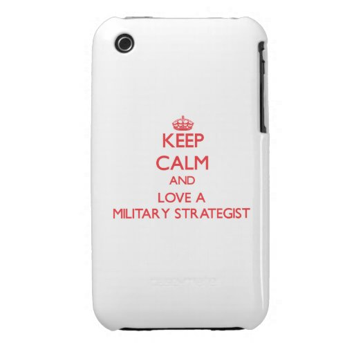 Guarde la calma y ame a un estratega militar iPhone 3 fundas
