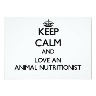 Guarde la calma y ame a un nutricionista animal invitación 12,7 x 17,8 cm