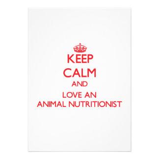 Guarde la calma y ame a un nutricionista animal comunicado personalizado
