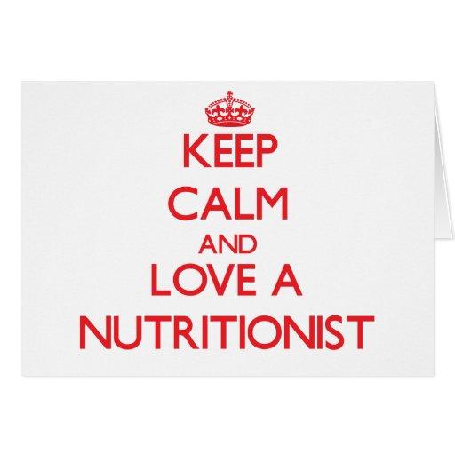 Guarde la calma y ame a un nutricionista tarjetón