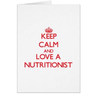Guarde la calma y ame a un nutricionista felicitacion