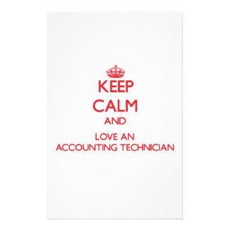Guarde la calma y ame a un técnico de la contabili papelería personalizada