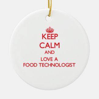 Guarde la calma y ame a un tecnólogo de la comida adorno de reyes