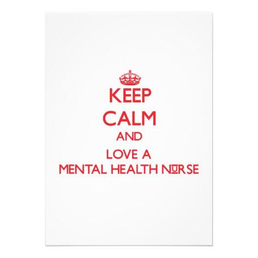 Guarde la calma y ame a una enfermera de salud men invitación personalizada