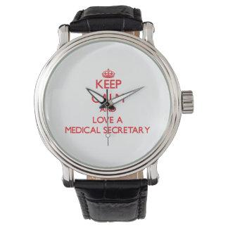 Guarde la calma y ame a una secretaria médica reloj de mano