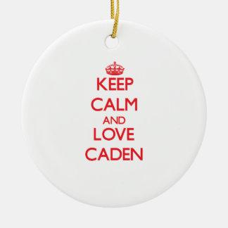 Guarde la calma y ame Caden Adorno De Navidad