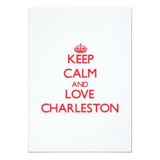 Guarde la calma y ame Charleston Invitación 12,7 X 17,8 Cm