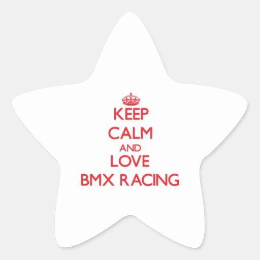 Guarde la calma y ame competir con de Bmx Colcomanias Forma De Estrellaes Personalizadas