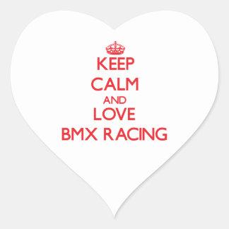 Guarde la calma y ame competir con de Bmx Calcomanía De Corazón Personalizadas