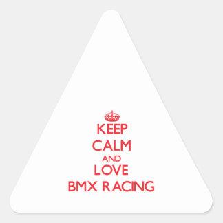 Guarde la calma y ame competir con de Bmx Pegatina De Triangulo