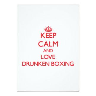 Guarde la calma y ame el boxeo borracho invitación 12,7 x 17,8 cm