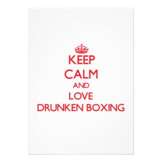 Guarde la calma y ame el boxeo borracho anuncio personalizado