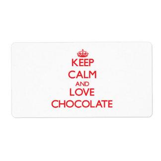 Guarde la calma y ame el chocolate etiquetas de envío