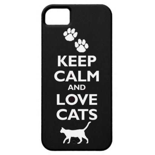 guarde la calma y ame el gato felino de los mascot iPhone 5 Case-Mate cárcasa