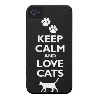 guarde la calma y ame el gato felino de los mascot iPhone 4 protectores