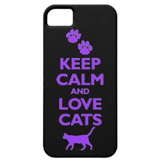 guarde la calma y ame el gato felino de los mascot iPhone 5 carcasas