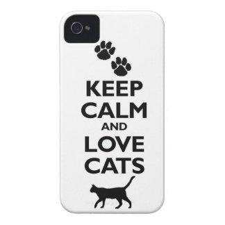 guarde la calma y ame el gato felino de los mascot iPhone 4 cobertura