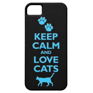 guarde la calma y ame el gato felino de los mascot iPhone 5 Case-Mate cárcasas