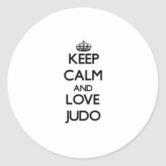 Guarde la calma y ame el judo pegatinas redondas