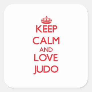 Guarde la calma y ame el judo colcomanias cuadradas personalizadas