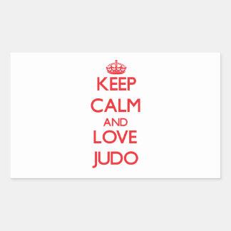 Guarde la calma y ame el judo pegatina