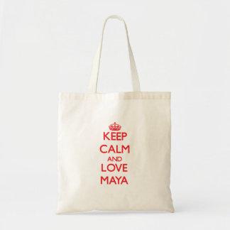Guarde la calma y ame el maya bolsas lienzo