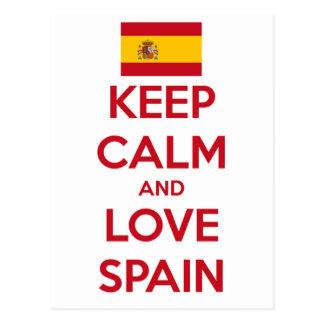 Guarde la calma y ame España Postal