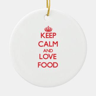Guarde la calma y ame la comida ornamento de reyes magos