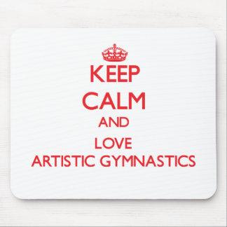 Guarde la calma y ame la gimnasia artística tapete de raton