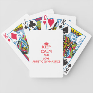 Guarde la calma y ame la gimnasia artística cartas de juego